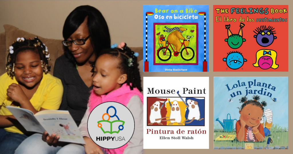 parent reading to children and 4 book covers